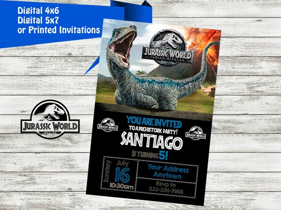 JURASSIC WORLD Invitation Jurassic World Birthday Party