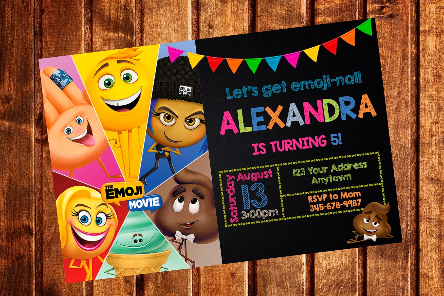 EMOJI MOVIE Invitation EMOTICON Birthday Party