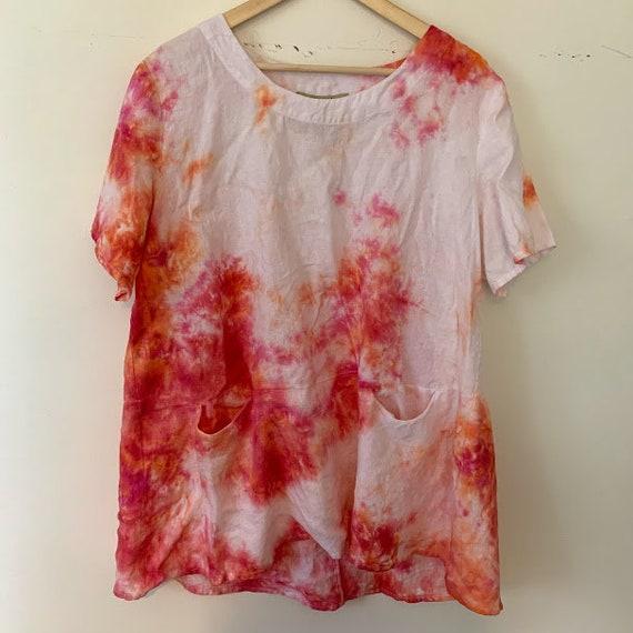 Reworked Tie-dye linen shift dress