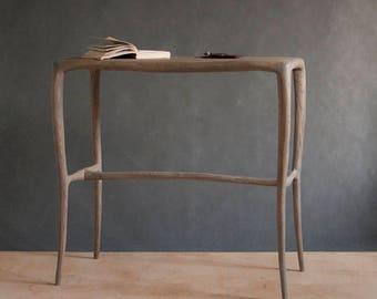 organic oak console table