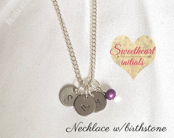 Hand Stamped Sweetheart Initials & Birthstone/Monthstone Necklace, Silver Coin Necklace