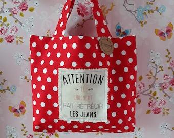tote bag, white red/polka dot fabric, chocolate, gift idea