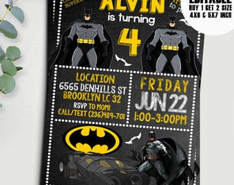 Batman Birthday Invitation Boy Printable Kids Editable Pdf