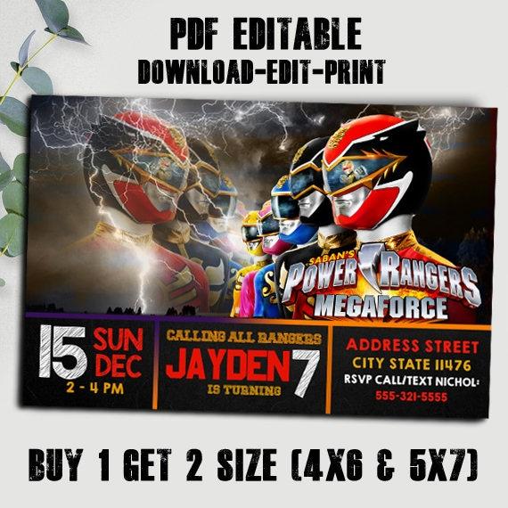 Power Ranger Invitation Birthday Party Editable Pdf