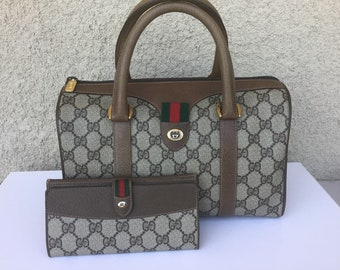 05b4984ba6e Authentic Vintage Gucci Doctor Boston Bag w  Long Bifold Wallet Mint  Condition
