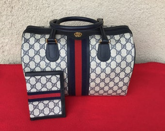 Authentic Vintage Gucci Large Boston Doctor Bag w  Matching Passport Cover  Case Great Condition 57602c068