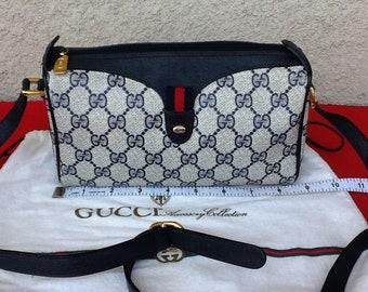 67519806c0a Authentic Vintage Gucci Small Shoulder Bag Blue Canvas w  Original Dust Bag  Great Condition