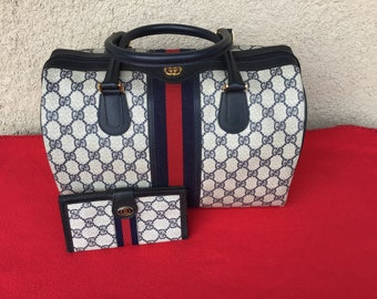 740ba6e74405 Authentic Vintage Gucci Extra Large Boston Doctor Bag w  Matching Checkbook  Wallet Excellent Condition