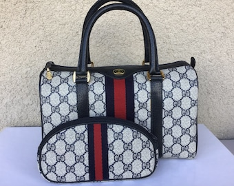 ca7511b306 Authentic Vintage Gucci Small Doctor/Boston Bag w/ Matching Makeup Pouch  Excellent Condition