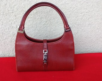 1d5f3ad155c6 Authentic Vintage Gucci Red Leather Jackie O Bag