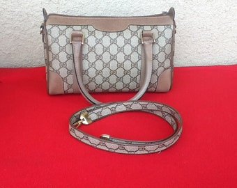 fab51ac495c53 Authentic Vintage Gucci Small Brown Canvas Boston Doctor Web Bag w Strap  Two Way