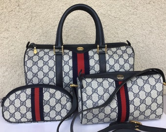 ea2e1da5508b Authentic Vintage Gucci Lot Large Doctor/Boston Bag, Small Shoulder Bag &  Makeup Case Excellent Exterior Condition