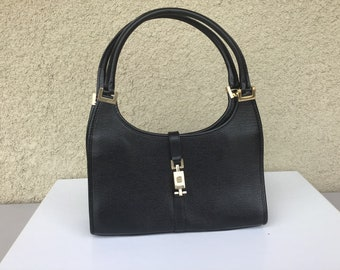9a8008f32d14 Authentic Vintage Gucci Small Jackie O Black Leather Bag in Excellent  Condition