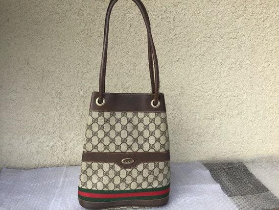 Vintage Gucci Drawstrings Bucket Bag Brown Canvas
