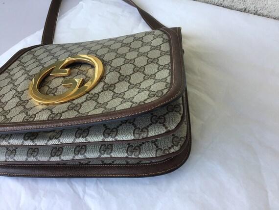 Vintage Gucci '70's Blondie Brown Canvas Bag Exce… - image 4
