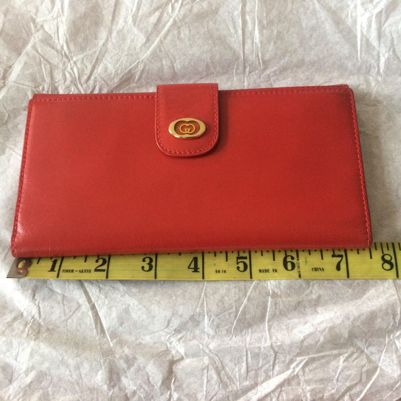 34c21147938d Authentic Vintage Gucci Classic Red Leather Wallet Great | Etsy