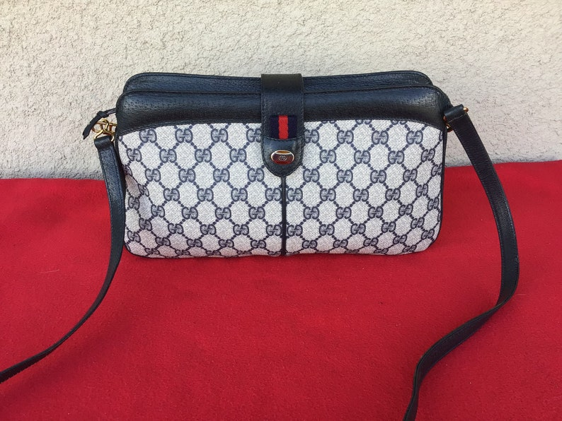 5538f5059de8 Authentic Vintage Gucci Shoulder/Crossbody/Clutch Bag Blue | Etsy