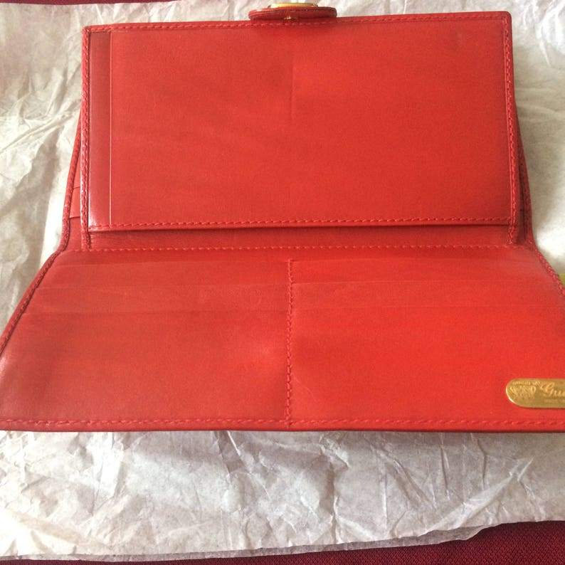 689871ace03f08 Authentic Vintage Gucci Classic Red Leather Wallet Great | Etsy