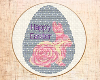 Happy Easter cross stitch pattern Easter Bunny cross stitch Rabbit Modern cross stitch Floral embroidery Egg counted cross stitch chart PDF