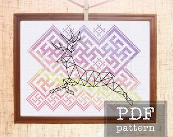 Christmas cross stitch pattern Deer cross stitch Geometric animal cross stitch Scandi ornament Folk cross stitch Deer nursery Nordic animal