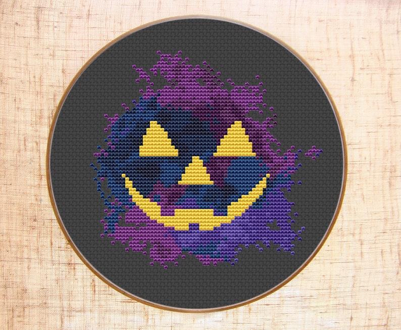 Lovely Halloween Cross Stitch Pattern Modern Cross Stitch Pumpkin Embroidery  Watercolor X Stitch Halloween Decor DIY Counted Cross Stitch PDF Chart