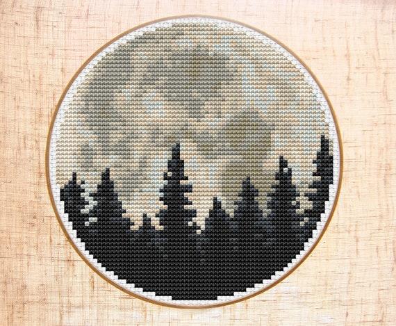 Moon Cross Stitch Pattern Modern Cross Stitch Forest Cross Etsy
