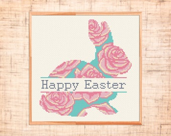Happy Easter cross stitch pattern Easter Bunny cross stitch Rabbit Modern cross stitch Floral animal Baby Nursery cross stitch chart PDF