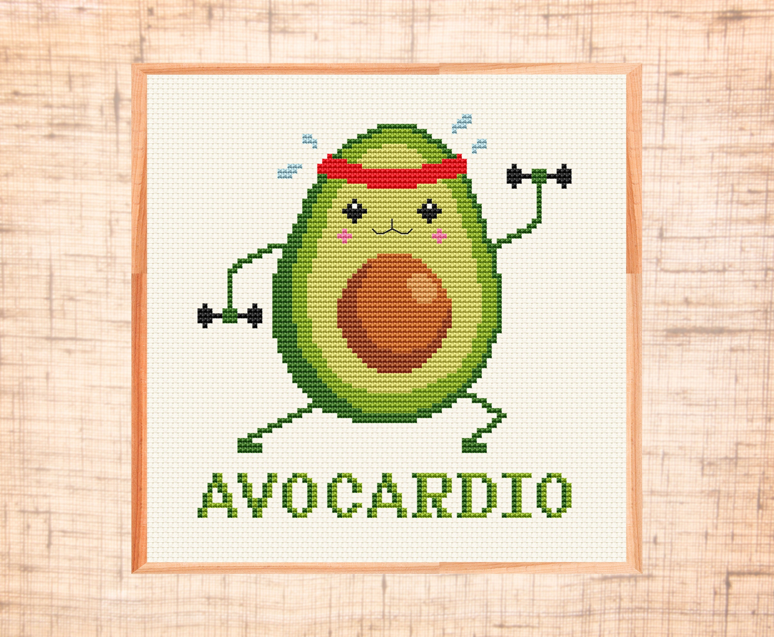 Funny Avocado cross stitch pattern Avo-cardio cross stitch Cute fitness  cross stitch Avocado lover Funny cross stitch PDF Instant download