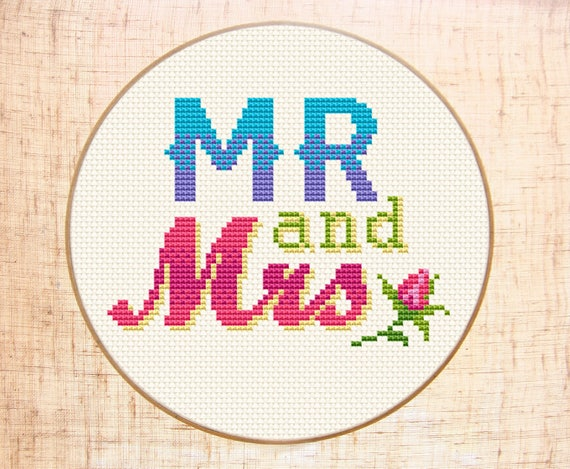 Mr And Mrs Cross Stitch Pattern Easy Cross Stitch Modern Etsy