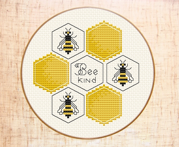 Bee Kind Cross Stitch Pattern Modern Cross Stitch Bumble Bee Etsy Cool Bee Pattern