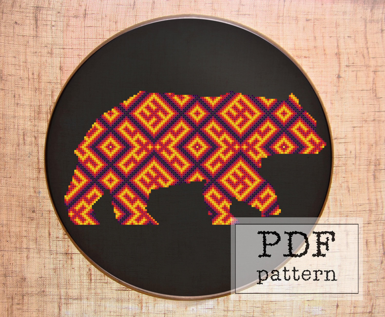 Bear cross stitch pattern Geometric cross stitch Animal | Etsy