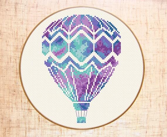Hot air balloon cross stitch pattern Modern cross stitch ...