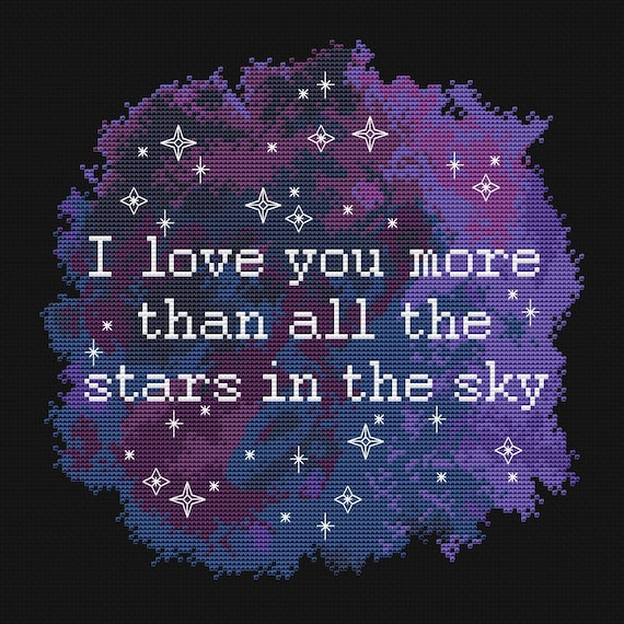 I Love You Cross Stitch Pattern Space Cross Stitch Stars Night Etsy