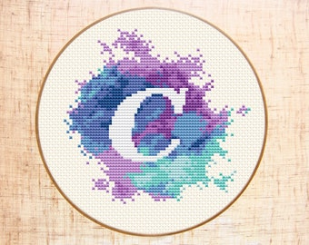 Letter C cross stitch pattern Modern cross stitch Watercolor xstitch Monogram embroidery Initial C Counted cross stitch PDF Instant download
