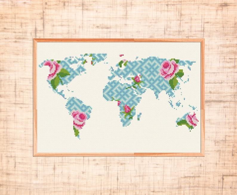 Modern Day World Map.Modern Cross Stitch World Map Cross Stitch Pattern Geometric Etsy