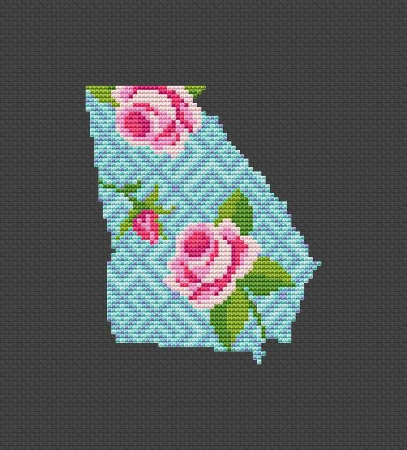 Georgia cross stitch pattern Floral map State cross stitch Housewarming gift DIY Counted crossstitch chart USA cross stitch State silhouette