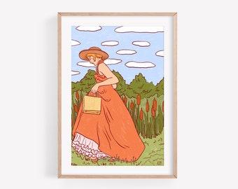 The walk - Fine Art Print ~ Lucile Farroni/illustration/woman/orange/green/house decor/poster/A4
