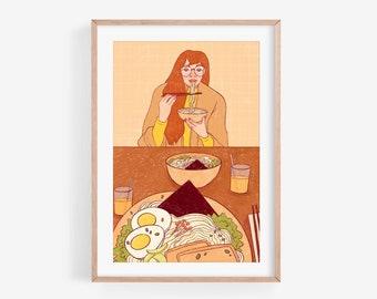 Ramen - Fine Art Print ~ Lucile Farroni/illustration/woman/japan/house decor/poster/A4/A5/A6