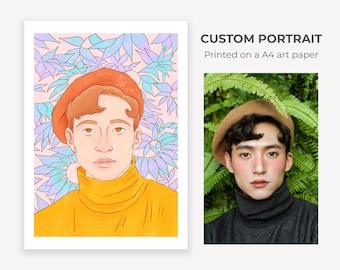 Custom Portrait - Printed on a A4 paper ~ Lucile Farroni /// Couple - Christmas - Anniversary - Birthday - Wedding - Illustration - Wall Art