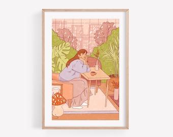 Winter garden - Art print ~ Lucile Farroni/illustration/woman/house decor/poster/print/A4