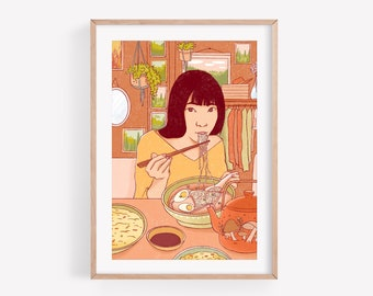Ramen - Fine Art Print ~ Lucile Farroni/illustration/woman/ramen/house decor/poster/A4