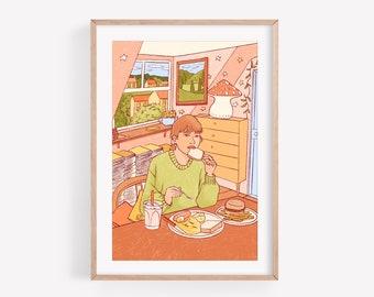 Brunch - Art print ~ Lucile Farroni/illustration/woman/house decor/poster/print/A4
