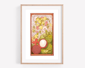 Bento - Fine Art Print ~ Lucile Farroni/illustration/house decor/kitchen/poster/A4