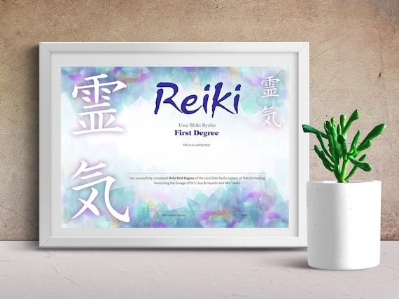 Reiki One Attunement A4 Certificate