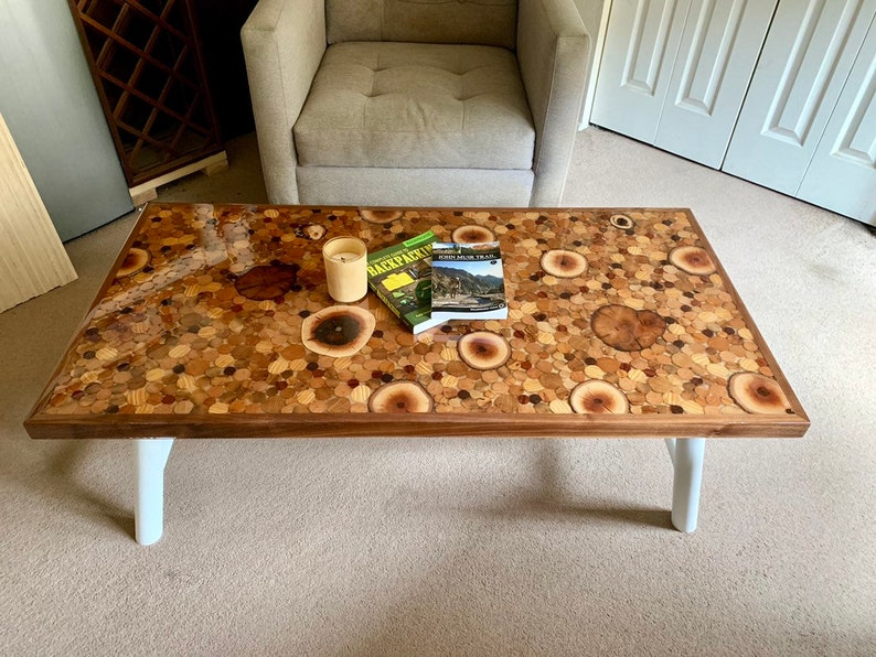 End Grain Coffee Table.Modern Coffee Table End Grain Wood Slice