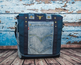 Messenger bag, Shoulder bag, Denim bag, Cross body bag, mens bag, womens bag, handmade unique bag, large bag, fashion bag, original bag
