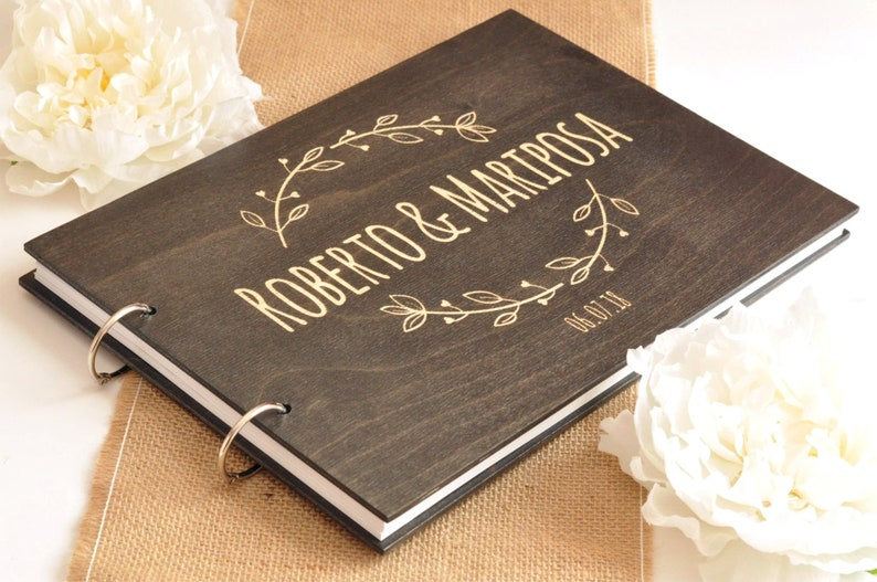 Personalized Floral Engraving Wood Wedding Guest Book