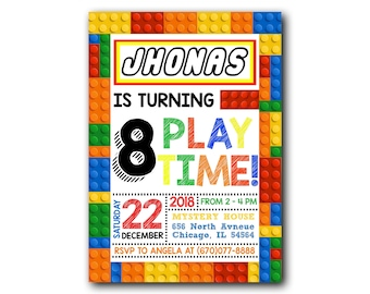 Colored Building Block Birthday Party Invitations Instant Download