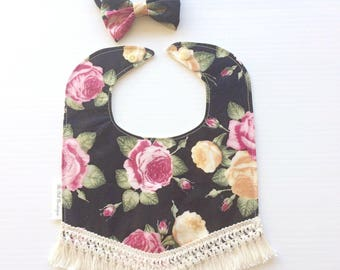 Fleur floral babybib with matching bow set  Lace dribble bib baby girl dribble bib girly bib boho baby girl bib vintage baby bib baby lace