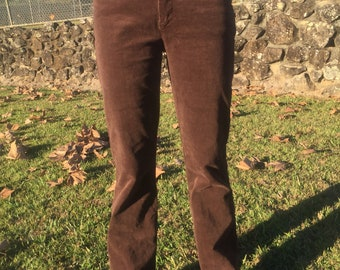 Brown Corduroy Flared Pants